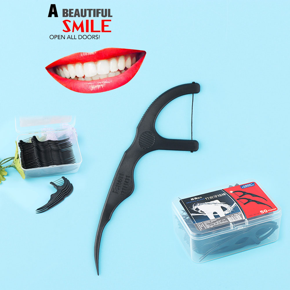 50 Pcs Bamboo Charcoal Dental Floss Teeth Sticks Tooth Picks Interdental Brush Teeth Clean Dental Floss Stick Toothpick Flosser(China)