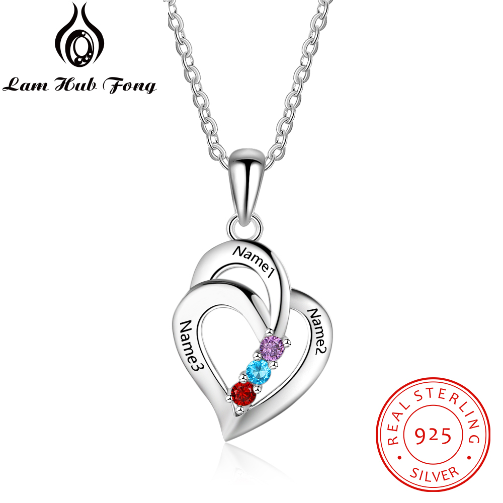 925 Sterling Silver Personalized Heart Pendant Necklaces Customized Birthstone Engraved Name Necklace Women Gift (Lam Hub Fong)