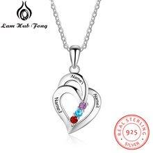 6fc737acb930 Plata de Ley 925 del corazón colgante collares personalizada Birthstone  grabado nombre collar mujeres regalo (Lam Hub Fong)