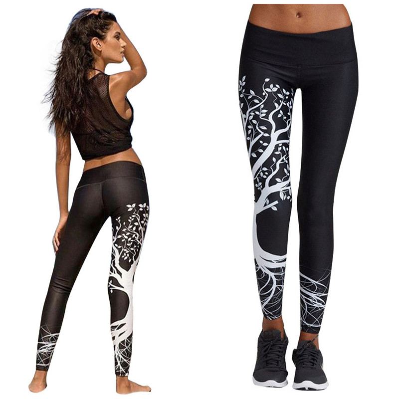 100% Quality Leaf Printing Leggings Women Printed Leggings Workout Gym Fitness Pants 2019 New Fashion Push Up Leggins Mujer