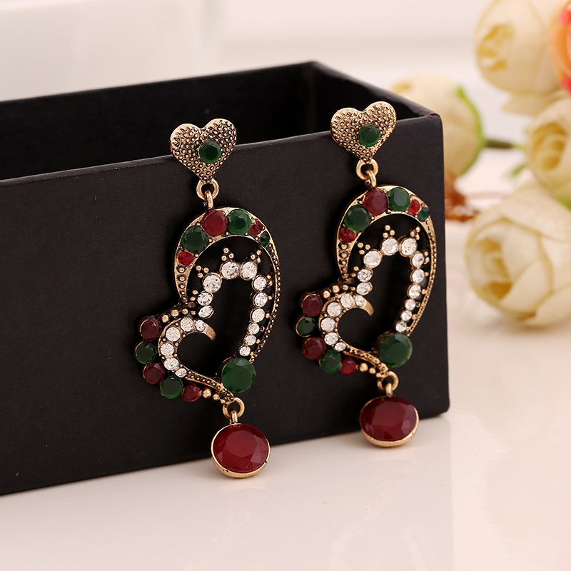 Fashion fashion exaggerated air heart shaped resin earrings earrings female anti allergy alloy jewelry for the women earrings in Drop Earrings from Jewelry Accessories