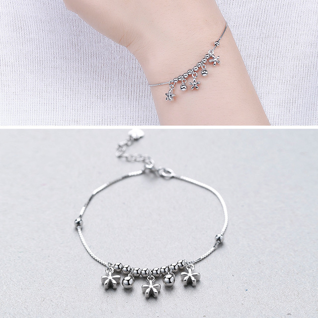 Factory Direct Sales S925 Sterling Silver Beaded Hanging Plum Bracelet Silver Jewelry Valentine 's Day Gift