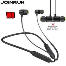 Joinrun W8 Магнитная Bluetooth наушники 3D стерео наушники с шейным гарнитура Беспроводной спорта гарнитура работает с микрофоном для телефонов