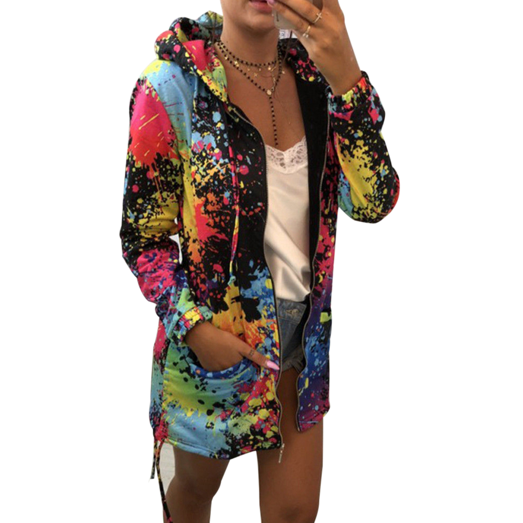 Womens Rainbow Graffiti Style Cool Jacket Printing Long Sleeve Casual Loose Coat