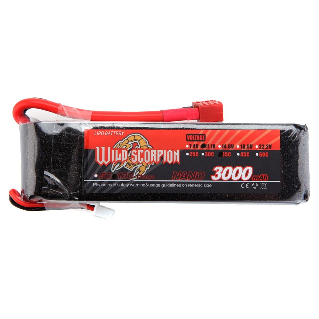 Wild Scorpion 7.4V 3000mAh 35C MAX 45C 2S T Plug Li-po Battery for RC Car
