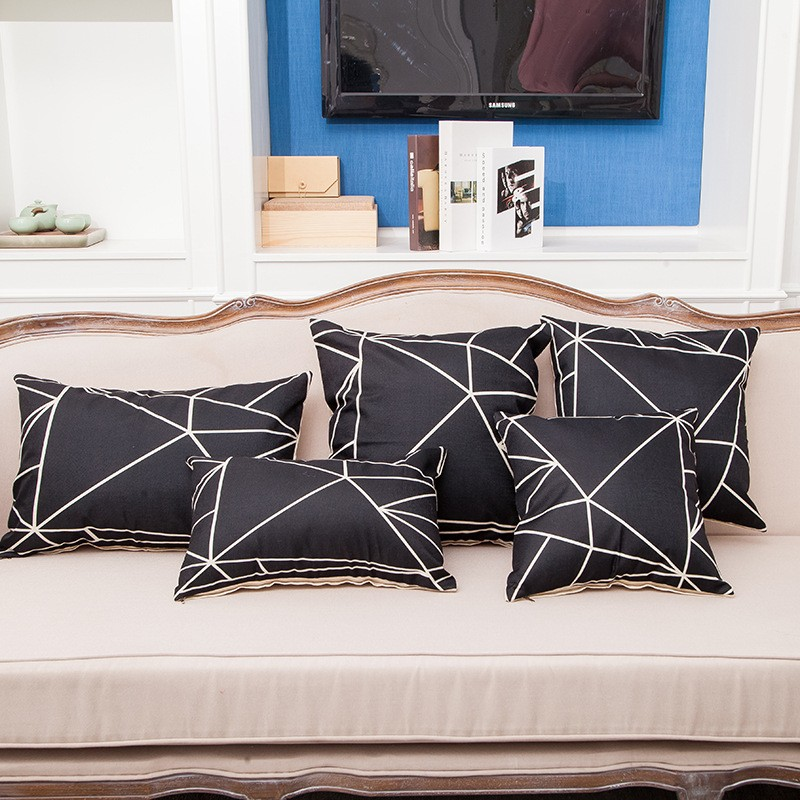 5pcs Black Geometric Decorative <font><b>Cushion</b></font> Cover <font><b>Home</b></font> Decor Living Room Sofa Throw Pillows Cases Rectangle Lumbar 50*50cm 40*60cm