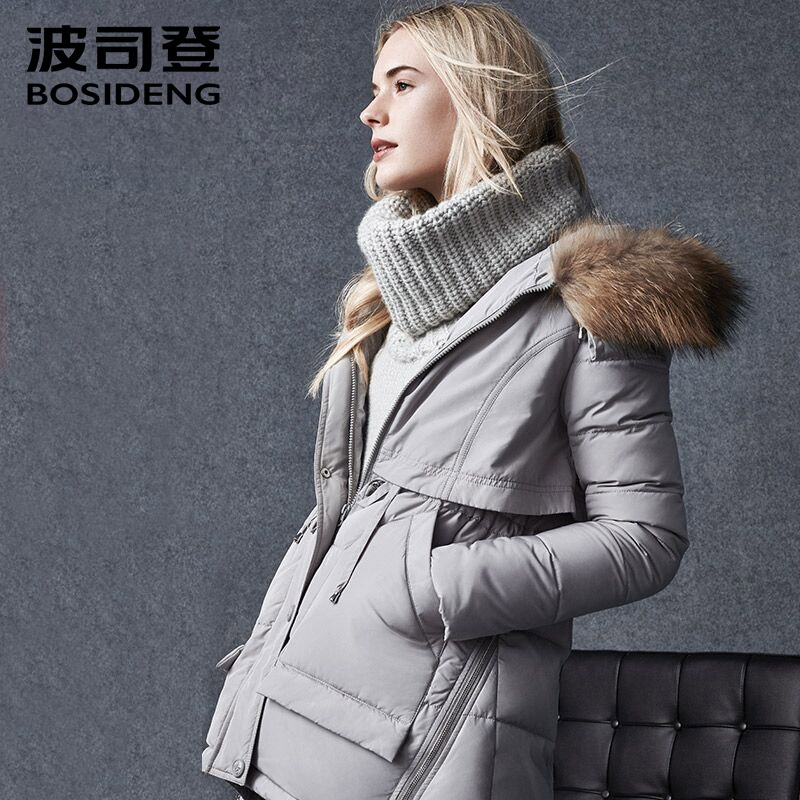 bosideng womens clothing thick down coat down jacket A type big pocket wide lap natural fur collar hoodie outwear B1501112