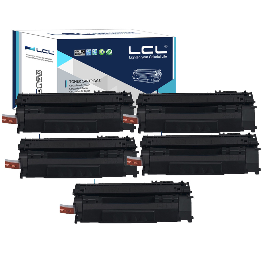 LCL Q7553A  Q 7553 A 7553A 53A Q7553 (5-Pack ) Black Compatible Laser Toner Cartridge for HP LaserJet P2014/P2015/M2727 Series sr149 5 2015 pack