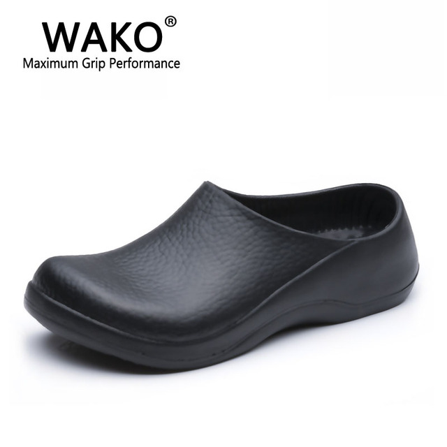 shoes for work in the kitchen storage boxes wako 9051 chef men black sandals restaurant super anti skidding safety clogs size 39 45