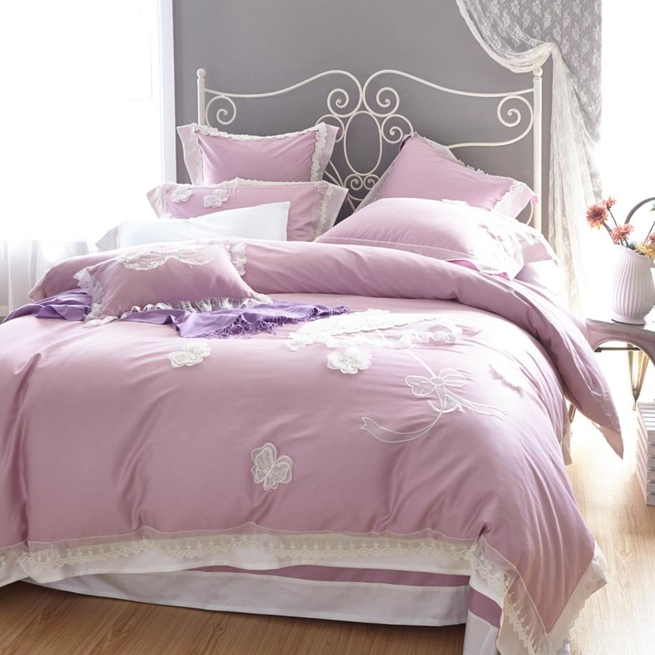 Light purple bed sets - Light Purple Lace Duvet Cover Set Queen King Size Bedding Set 100 Egyptian Cotton