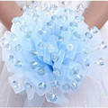 2016 Crystal Wedding Bouquets Blue Pink Purple Bridal Silk Bouquet Mariage Luxury Handmade Bridesmaid Bouquets Ramos De Novia