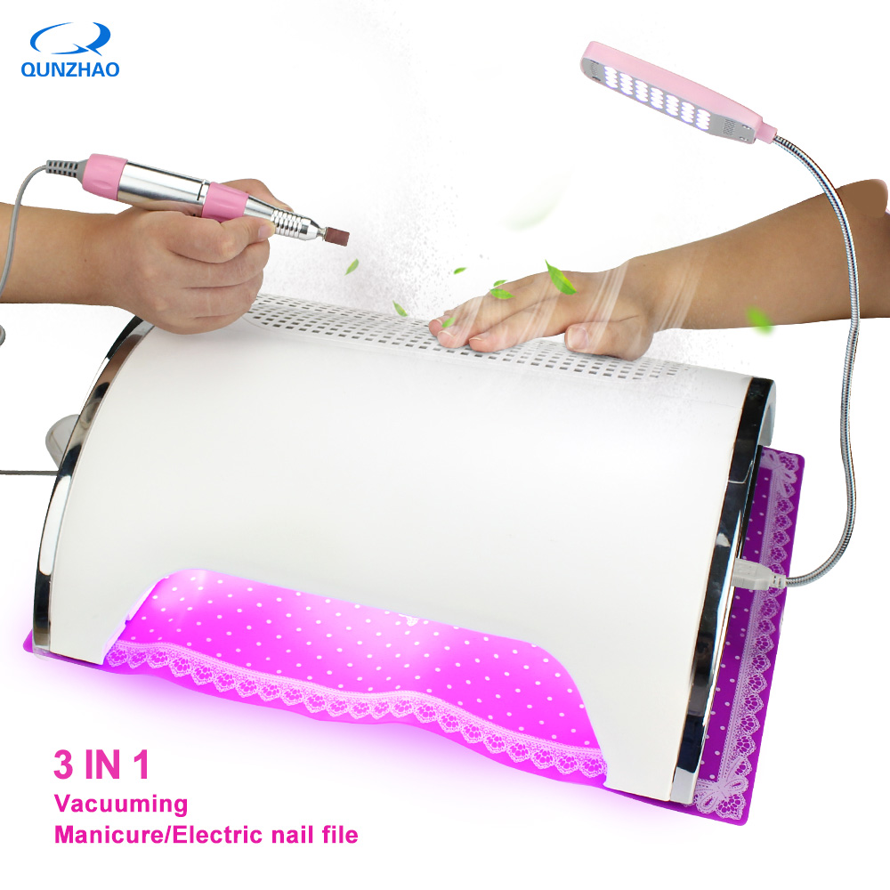 Vacuum Cleaner For Manicure Nail Dust Collector Nail 3 Fans Strong Power 54W LED UV Lamp