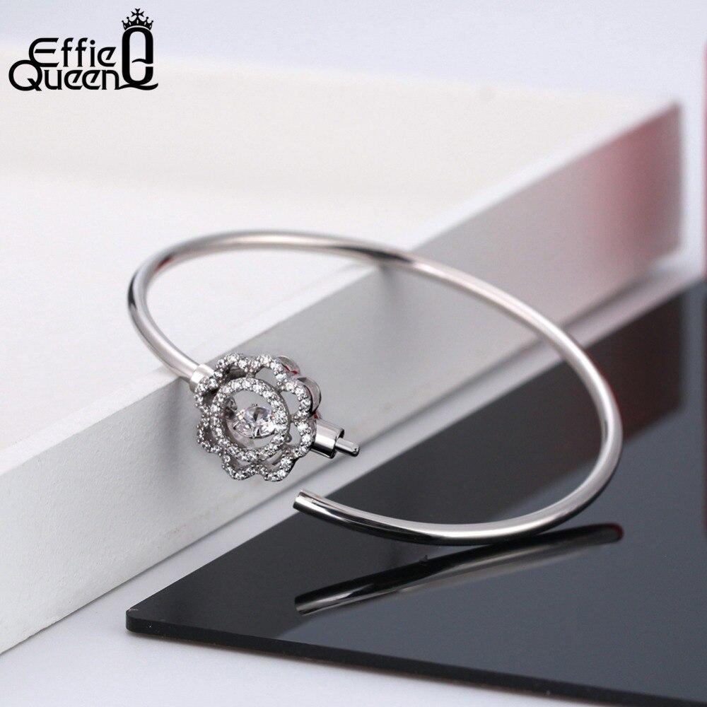 Effie Reine Réel 925 Sterling Argent Bracelets Femmes Fleur Secouant Zircon Bracelet Manchette Bracelet 2018 Nouveau Bijoux pour Filles BB07