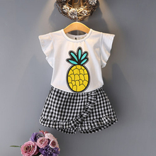 2 Piece Set summer Baby Girl clothes cotton Pineapple print T + Lattice shorts set suit, for 3 4 5 6  Years old