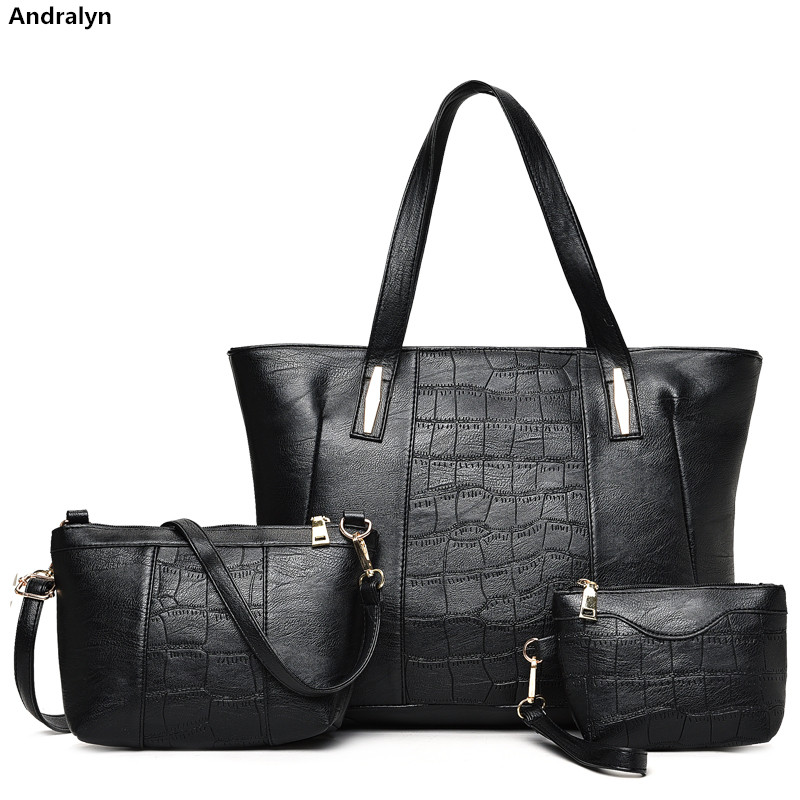 High quality Leather Crocodile Grain Lady Handbag 3 Pcs Composite Bags Set Women Crossbody Shoulder Bag Wallet Clutch Purse jooz brand luxury belts solid pu leather women handbag 3 pcs composite bags set female shoulder crossbody bag lady purse clutch