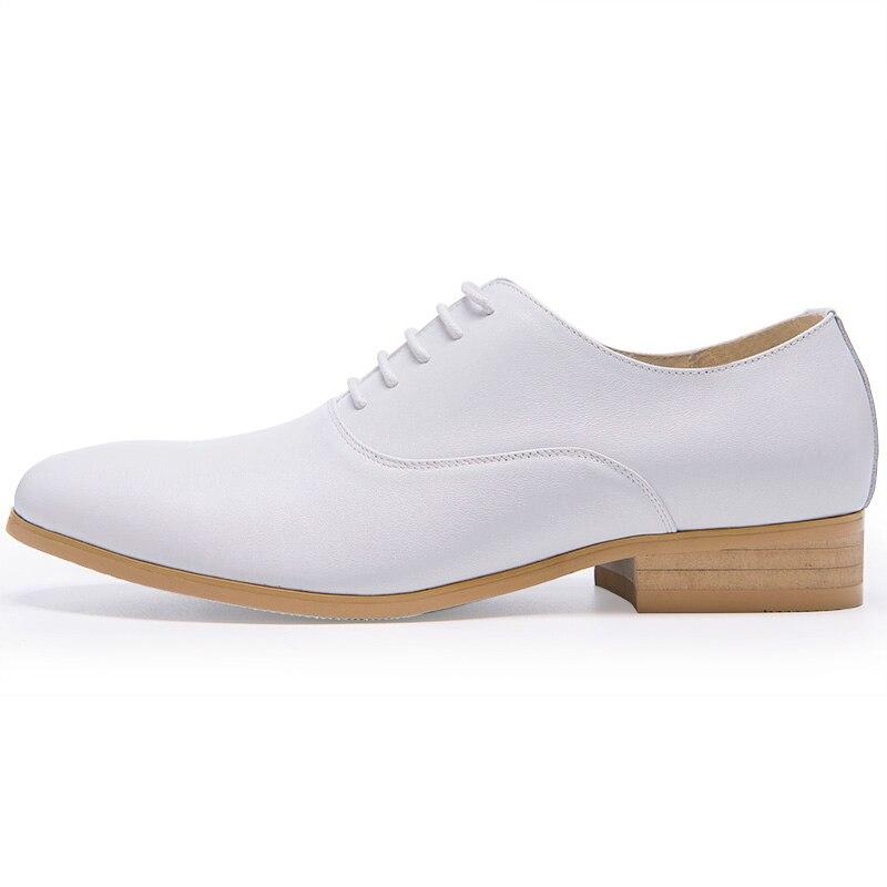 Sapatos Aumentar Casamento Black Brancos Homem Oxfords Grosso Acima Couro De Salto Ata Genuíno Homens Moda white Alto O5x7ZqHZw