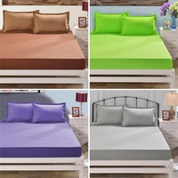 Polyester Fitted Sheet Mattress Cover Bedding Four Corners With Elastic Band
