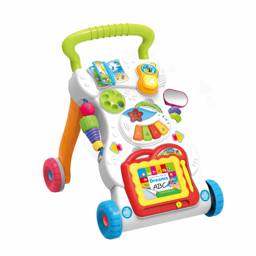 New Bricks 0-2Y with Wheels Foldable Adjustable Car High Quality Baby Walker Car Helps  Toys lepin original fisher price multi function baby walker lion car children activity musical baby walker with wheels adjustable car