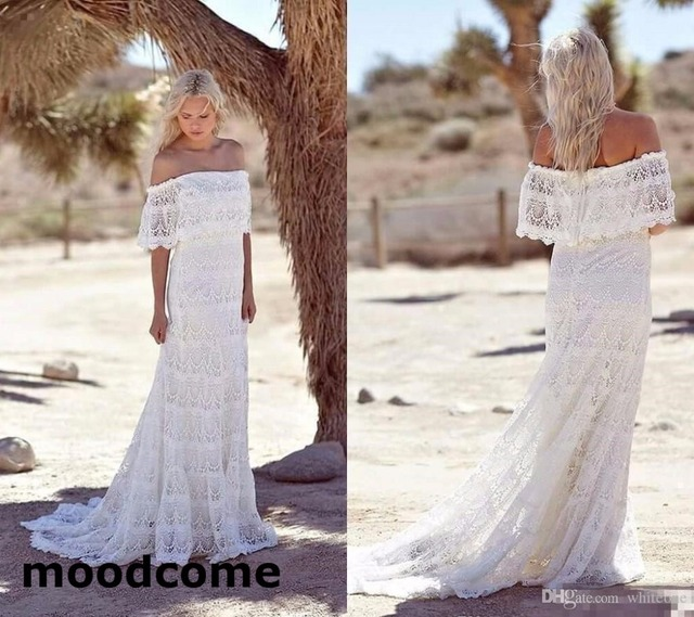 Hot Sale Summer 2018 Full Lace Bohemian Wedding Dresses Off Shoulder ...