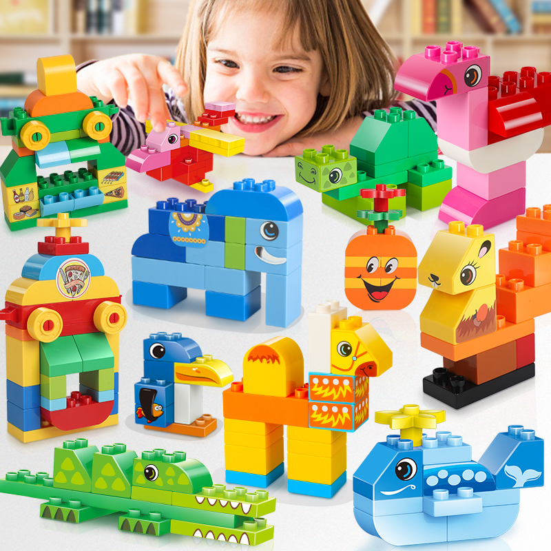 135-270PCS Big Building Blocks DIY Animals House Store Fish Colorful Bricks Toy For Children Above 3 Years Old Compatible Duploe