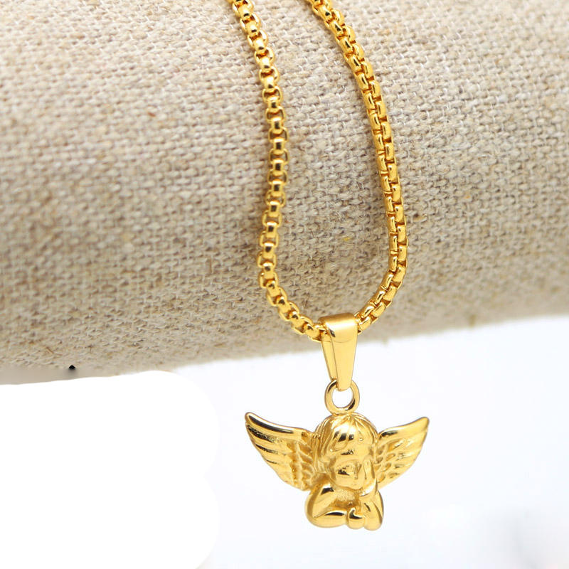 2017 Men Jewelry ANGEL BABY CHARM Pendant Necklace 24K Gold Pendant Long Necklace 70cm Hiphop Necklaes Gold Chain Men Necklace