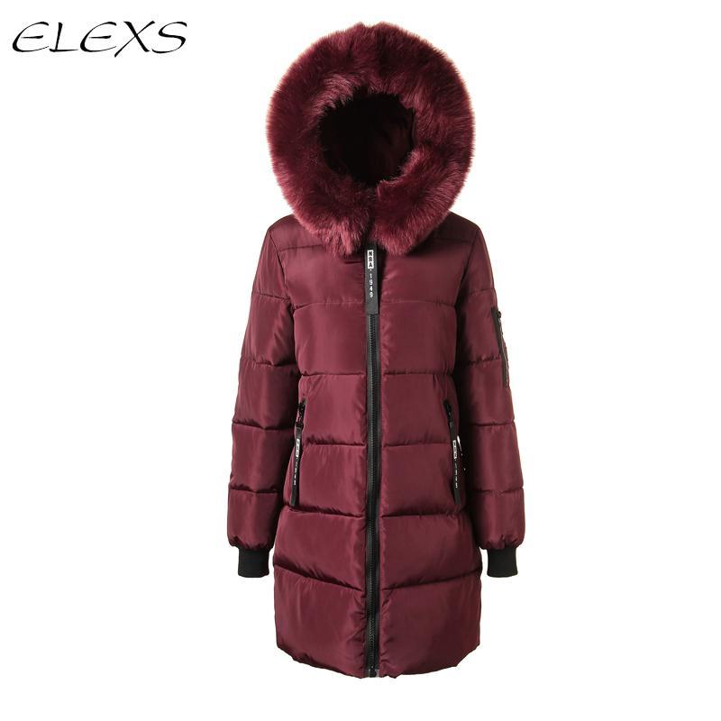 elexs 2018 femmes manteau d 39 hiver veste de fourrure chaude femme parkas femelle manteau de haute. Black Bedroom Furniture Sets. Home Design Ideas
