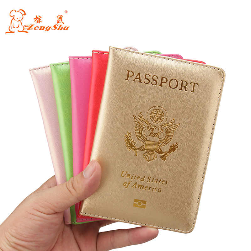 PU Leather Travel Passport Holder Embossing Brand American Wallet Sponge Covers (Custom printing)