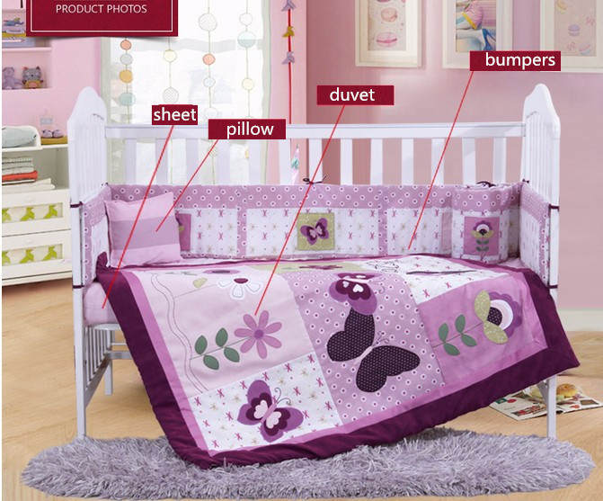 7PCS embroidery purple Baby Bedding Set Cot Baby Nursery Bedding Crib Bumper ,include(bumper+duvet+sheet+pillow) promotion 6pcs baby bedding set cot crib bedding set baby bed baby cot sets include 4bumpers sheet pillow