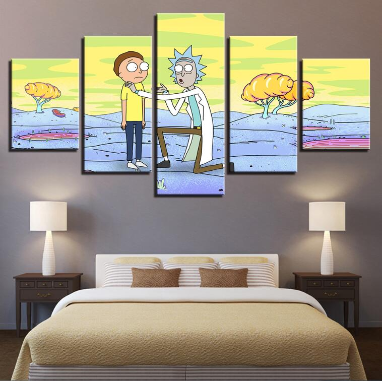 Canvas Modular Ornament HD Wall Posters Image On Artwork Residence 5 Panel Rick And Morty Residing Room Printed Fashionable Portray Body Portray & Calligraphy, Low cost Portray & Calligraphy,...