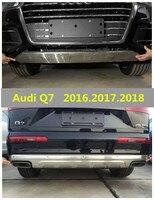 Otomobiller ve Motosikletler'ten Tamponlar'de Audi için Q7 2016.2017.2018 TAMPON KORUMA Araba tampon plaka Yüksek Kalite Paslanmaz Çelik Ön + Arka Oto Aksesuarları