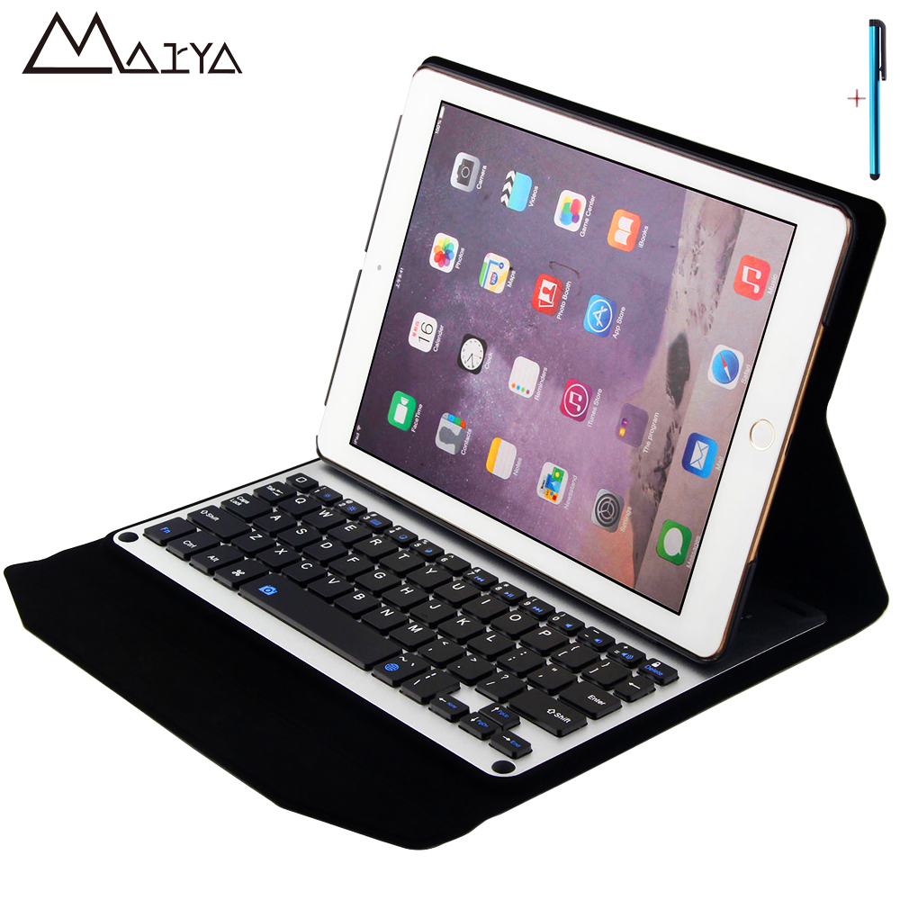 Aluminum Keyboard For iPad 2017 Air2 Tablet Case Ultra thin Stand Removable Wireless Bluetooth PU Leather For iPad Pro 9.7 Cover