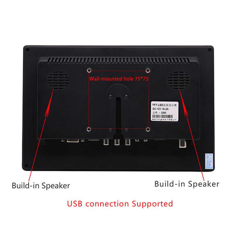 المحمولة رصد 10.1 بوصة شاشة الكريستال السائل HD تلفزيون صغير شاشة الكمبيوتر شاشة عرض ألعاب ألعاب الأمن HDMI VGA USB TV ل التوت بي