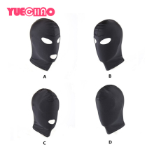 купить BDSM Fetish Mask Hood Adult Game Bondage Party Open Mouth Eye Elastic Head Mask Cosplay Slave Punish Headgear Mask Sex Toys дешево