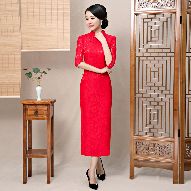 New Arrival Lace Female Red Mandarin Collar Qipao Elegant Chinese Bride Wedding Dress Lady Slim Long Vintage Cheongsam S-2XL