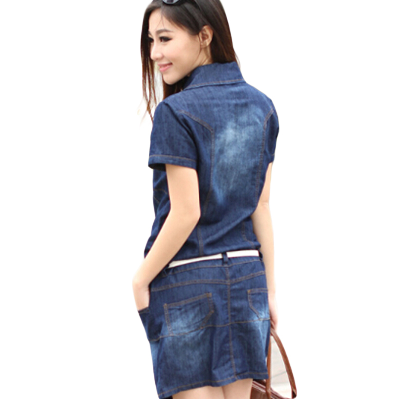 187639d32941f Women s Dress Summer Style Plus Size 5XL Dresses Denim Vestidos Short Sleeve  Loose fitting Dress Casual Clothes 2018 Hot C26-in Dresses from Women s ...