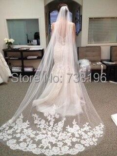 Один Слои расшитый кружевом из тюля с длинным шлейфом Длинные свадебные фаты для невест свадебные аксессуары