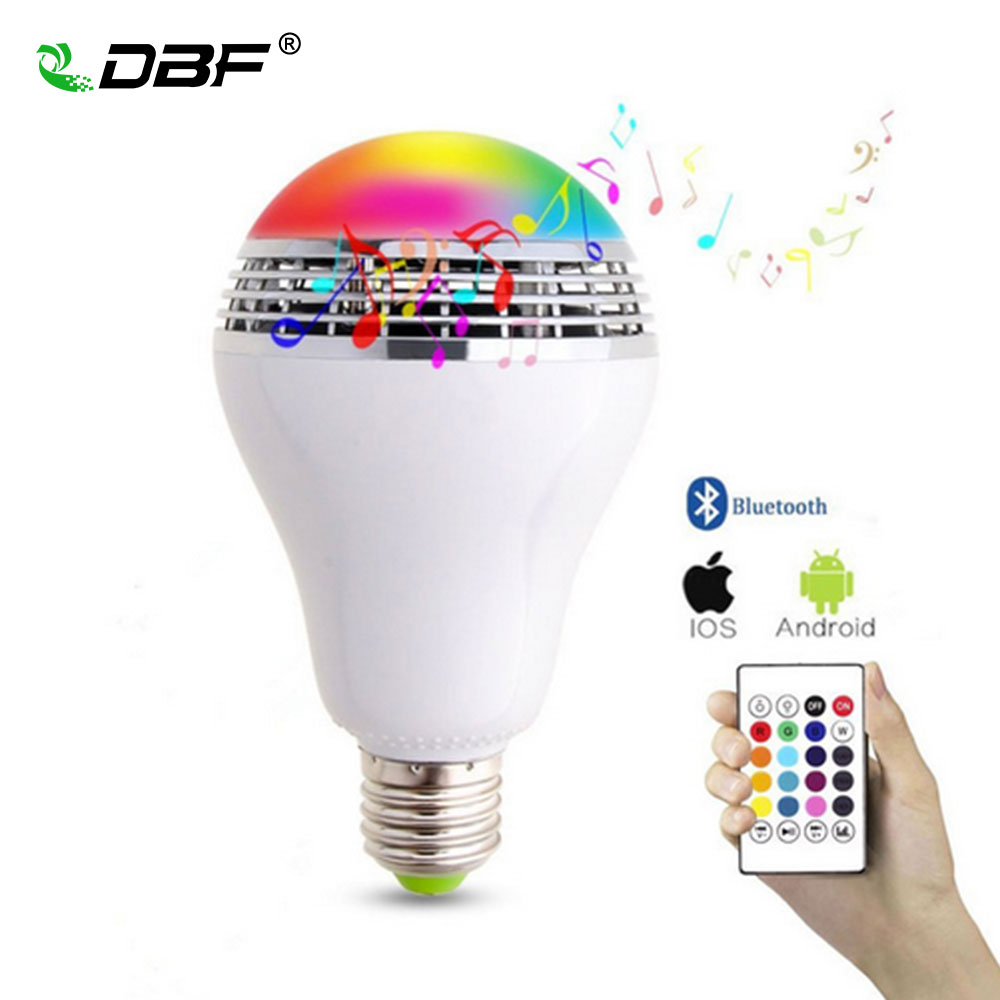 LED Bluetooth Speaker, [DBF] E27 10W Bluetooth Bulb Music Light 24Key Remote Control LED Bulb Dimmable Color Changing RGB Bulb 15w e27 led rgb light dimmable bluetooth app control mp3 music bulb color changing smart lamp