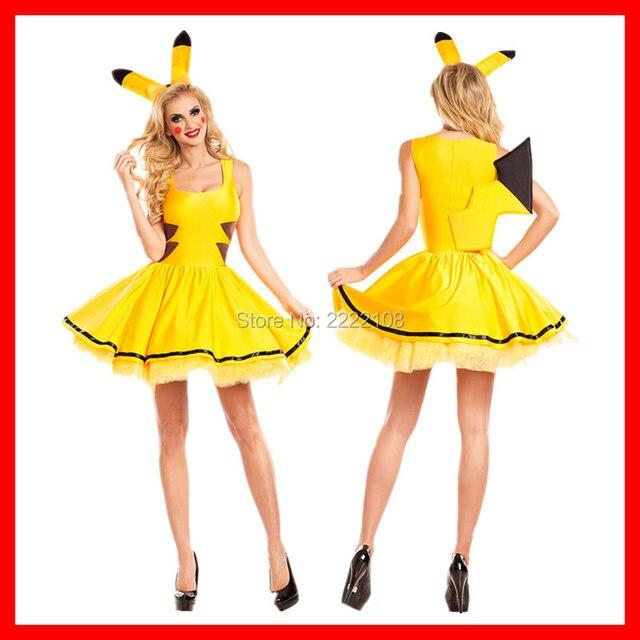 Pokemon Pikachu disfraces Cosplay mujeres traje animal adulto fantasía sexy  clubwear desgaste del partido Navidad Halloween eaa074a39463