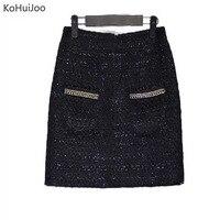 KoHuiJoo 3XL 4XL 5XL Winter Zwarte Korte Tweed Rok Vrouwen Plus Size Metalen Ketting Dikke Dames Wol Rok Zoete Pocket rokken
