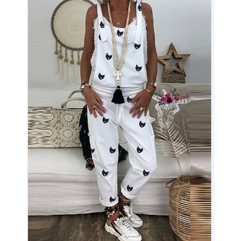 New Fashion Women's Casual Loose Overalls Cat Print Solid Color Pants Ladies Holiday Party Trousers Summer