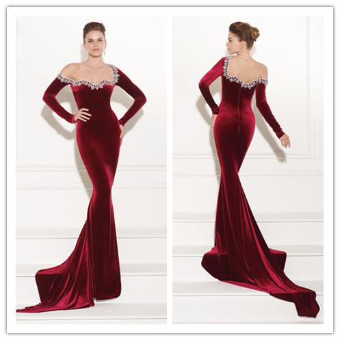 Compare Prices on Velvet Red Long Sleeve Evening Dress- Online ...