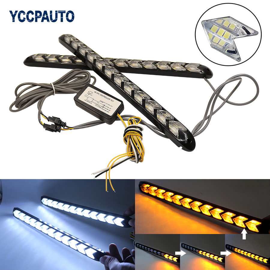 YCCPAUTO Car Styling DRL Turn Signal Lights Waterproof White/Amber LED 2in1 Dual Color Strip Light Arrow Flowing Flow DRL 2PCS