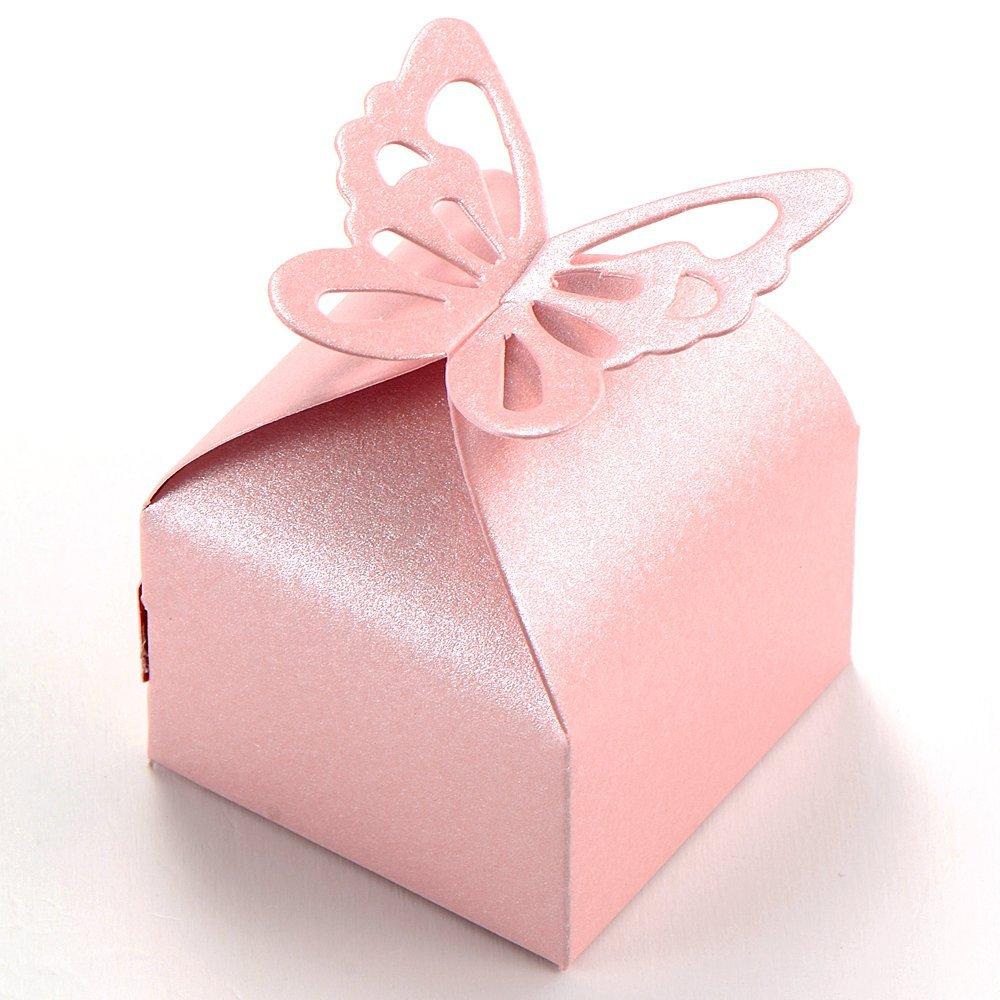 50pcs Borboleta Decoração Boite um Nascimento Subiu caixa de presente Decoração de Casamento Batismo Drageias