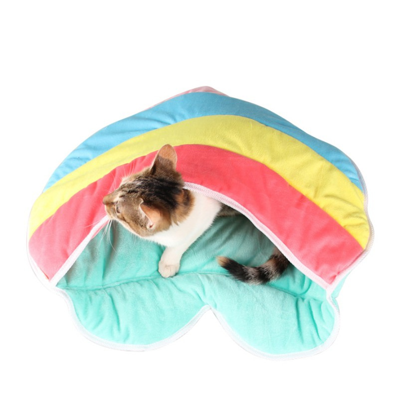Cute Rainbow Color Heart Shape Warm Soft Plush Cat House Small Dog Puppy Pet Sleeping Ba ...