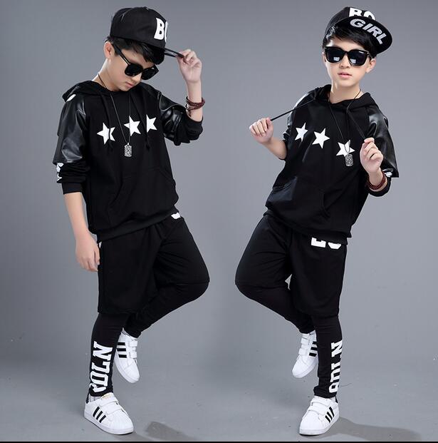 2017 fashion brand children's clothing set faux leather patchwork Costumes black white Star jazz Hip Hop dance kids suits 3pcs