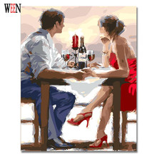 Romantic Dating Painting By Numbers On Canvas DIY Wine Digital Picture Coloring By Numbers Home Decor Child Gift Poster(China)