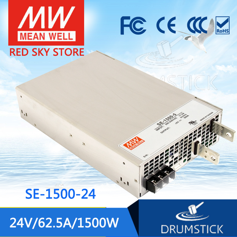 (Only 11.11)MEAN WELL SE-1500-24 (1Pcs) 24V 62.5A meanwell SE-1500 24V 1500W Single Output Power Supply only 11 11 selling hot mean well se 100 24 2pcs 24v 4 5a meanwell se 100 24v 108w single output switching power supply