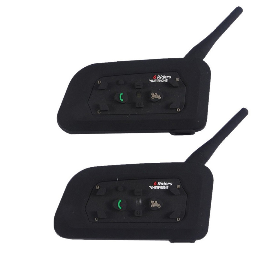 3PCS BT Intercom Motorycle Helmet Headset Bluetooth Interphone V6 1200M 6 Riders Bikers Skiers Walkie Talkie Moto Communication -09