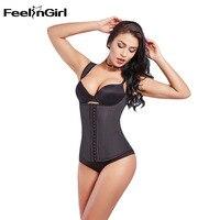 FeelinGirl Latex Waist Cincher Vest Chest Binder Body Shaper For Women Corset Slimming Plus Size 6XL Push Up Waist Trainer D