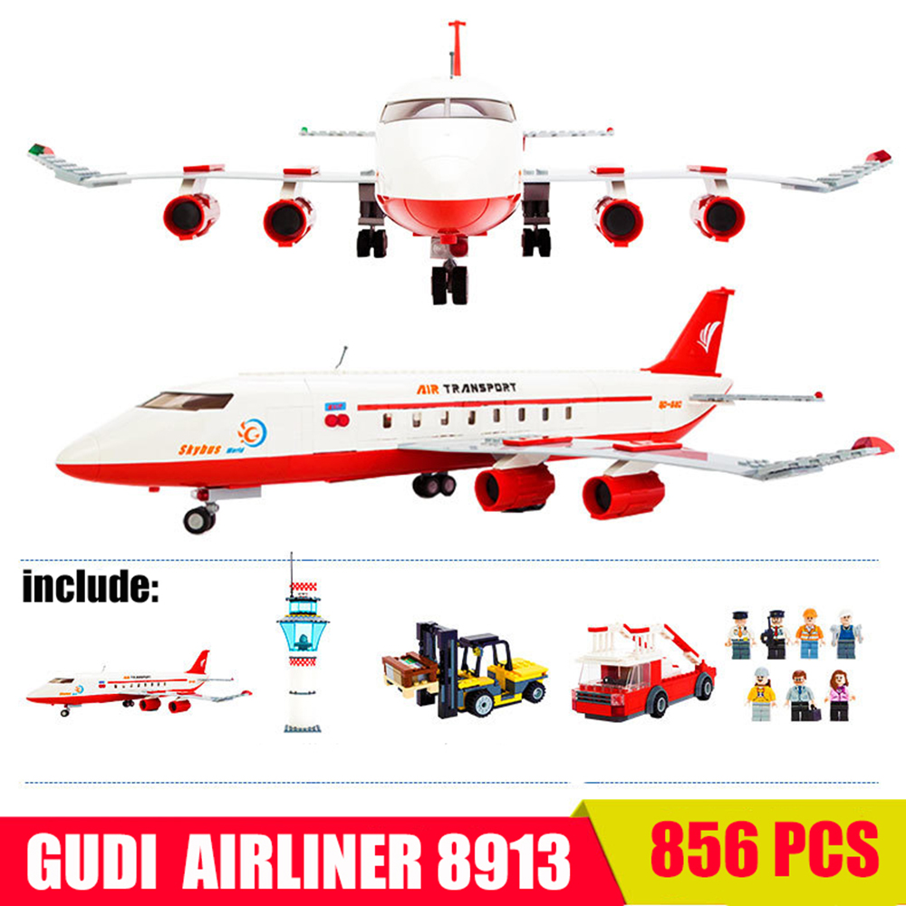 856pcs GUDI Airbus Plane Airplane Airline City Building Block Bricks MOC Compatible With Legoe City Ninjago Toy 55*62cm Kid Gift gudi block city large passenger plane airplane block assembly compatible all brand building blocks educational toys for children